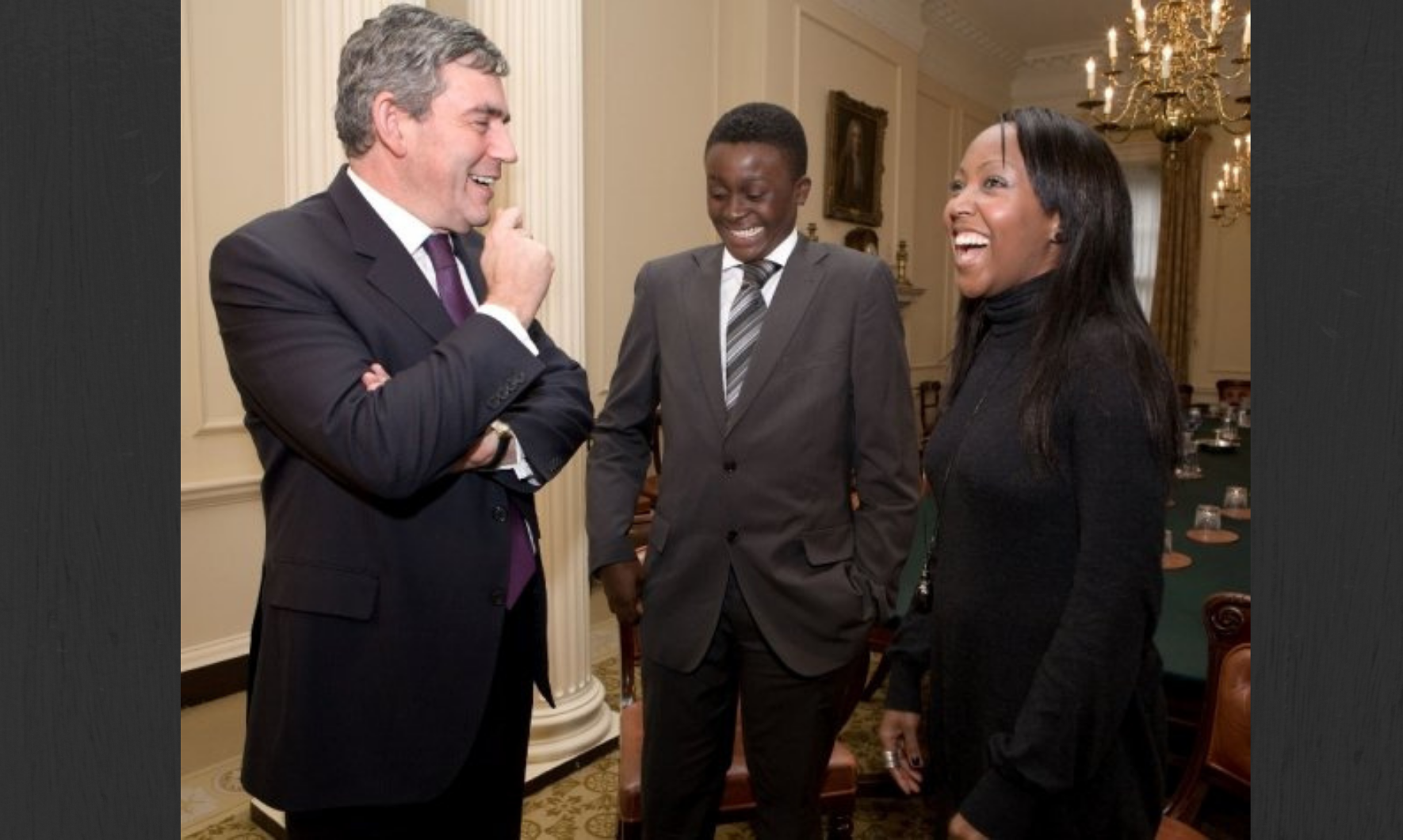 Prime Minister Gordon Brown with Quincy Washington and Angellica Bell at 10 Downing Street